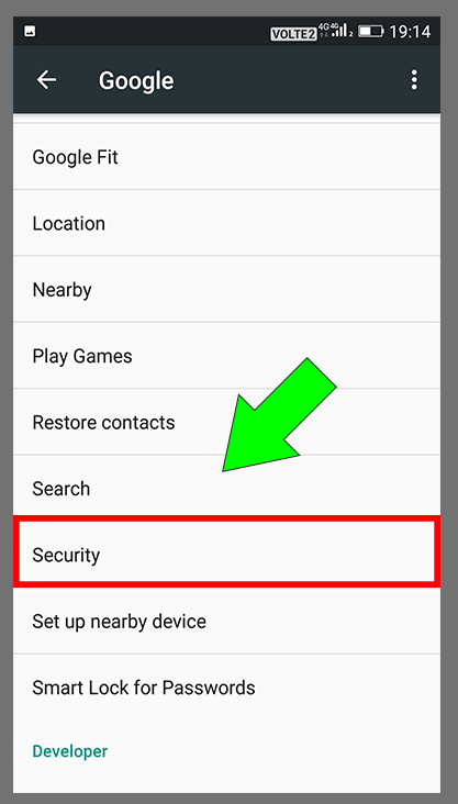 Google Security Settings Step-2 | Select Security Option