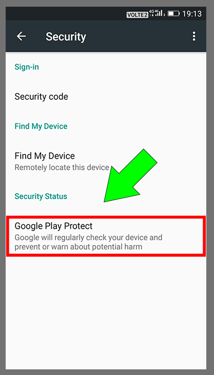 Google Security Settings Step-3 | Select Google Play Protect Option